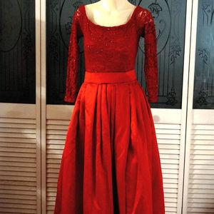 Vintage Lillie Rubin Glitter Lace Satin Maxi Dress